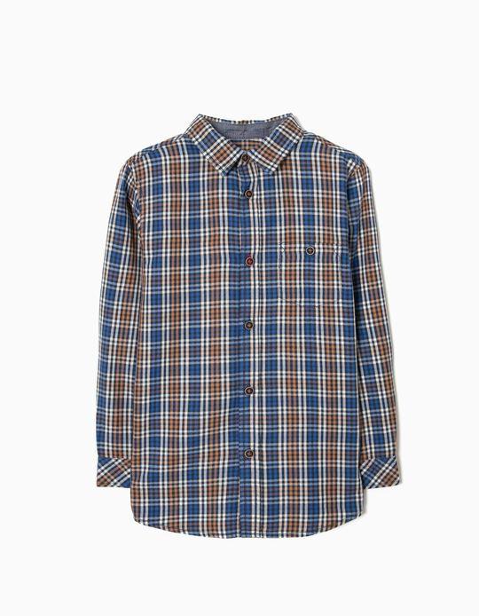 Camisa Xadrez para Menino, Castanho e Azul