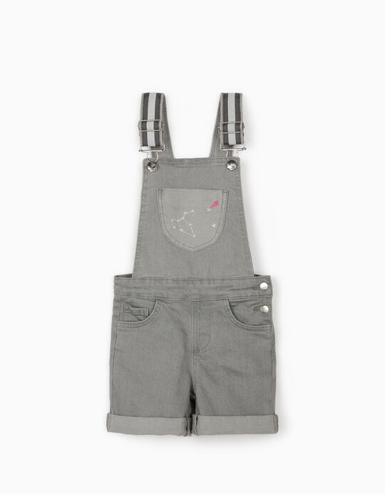 Short Dungarees in Denim for Girls 'Cosmic World', Grey