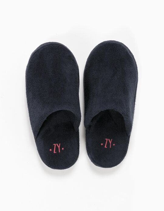Mule Slippers, Dark Blue