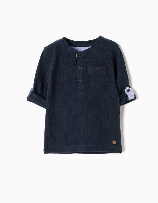 T-shirt Manga Comprida com Bolso Azul