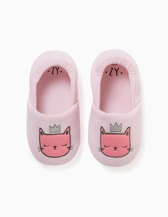 Slippers for Girls, 'Queen Cat', Pink