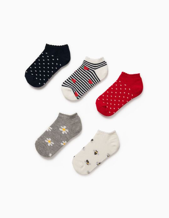 5 Pairs of Trainer Socks for Girls, 'Bees & Flowers', Multicoloured