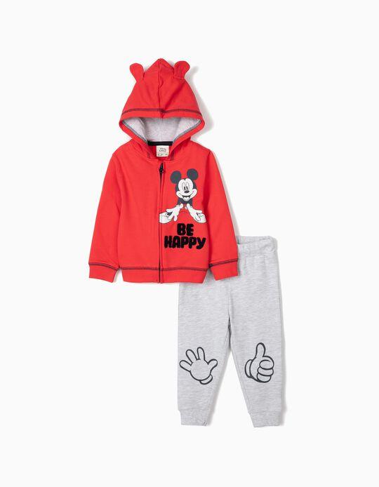 Fato de Treino para Bebé Menino 'Mickey Be Happy', Vermelho/Cinza