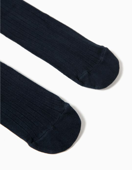 Ribbed Tights for Girls, Dark Blue.