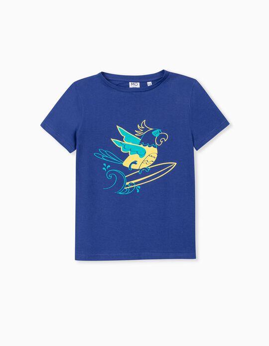 T-shirt de Algodão, Criança, Azul