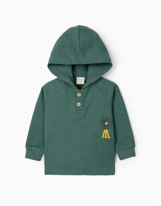 Hooded Waffle Sweatshirt for Baby Boys, Green