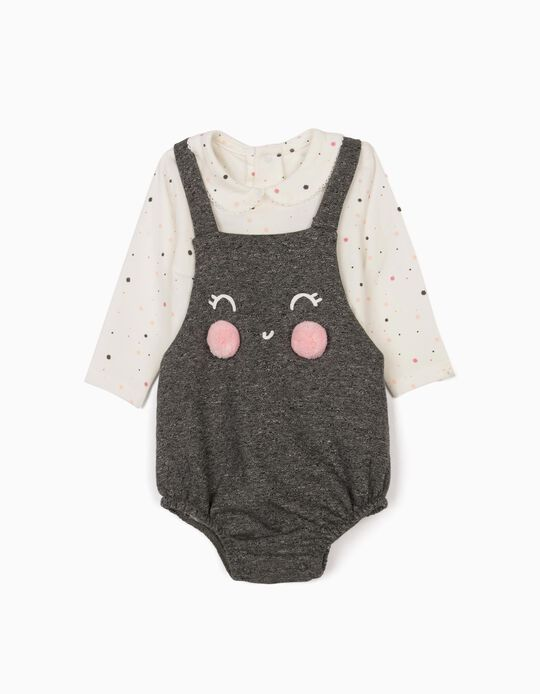 Jumpsuit and Bodysuit for Newborn Baby Girls, Grey/White