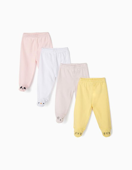 4-Pack Trousers with Feet for Baby Girls 'Animals', Multicolour