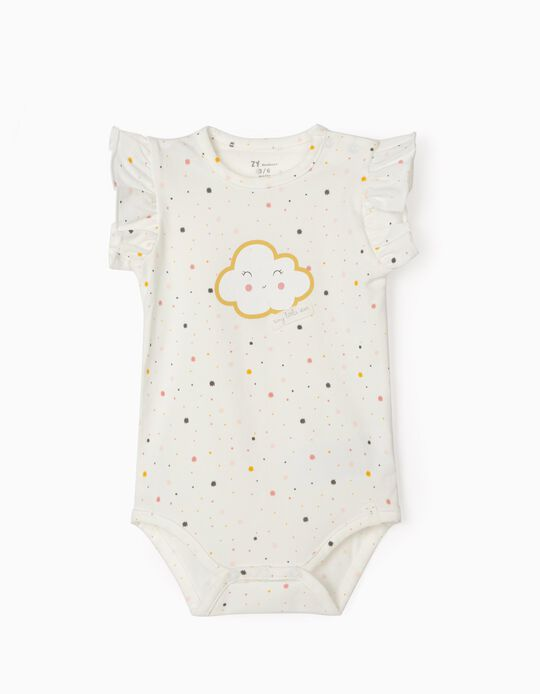 Bodysuit for Baby Girls, 'Cloud', White