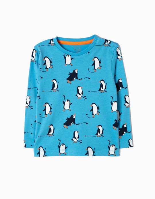 T-shirt Manga Comprida Pinguins Azul