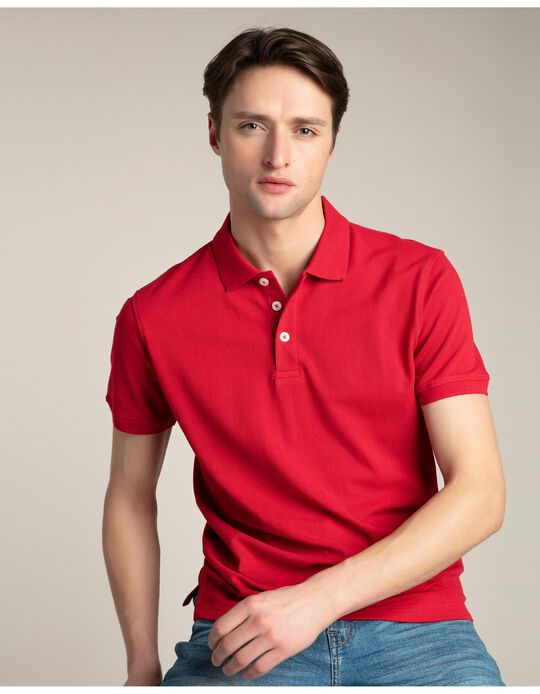 Piqué Polo Shirt, Red