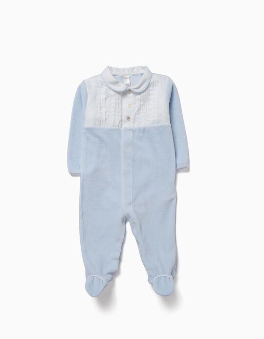 Velvet Sleepsuit for Newborn, Blue
