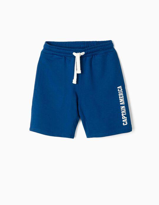 Sports Shorts for Boys, 'Captain America', Blue