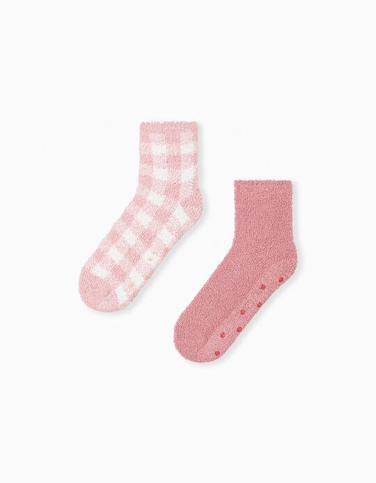 2 Pairs Non-Slip Socks, Pink