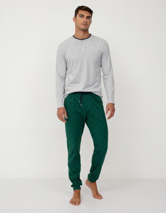 Pijama de Algodão, Homem, Cinza/ Verde