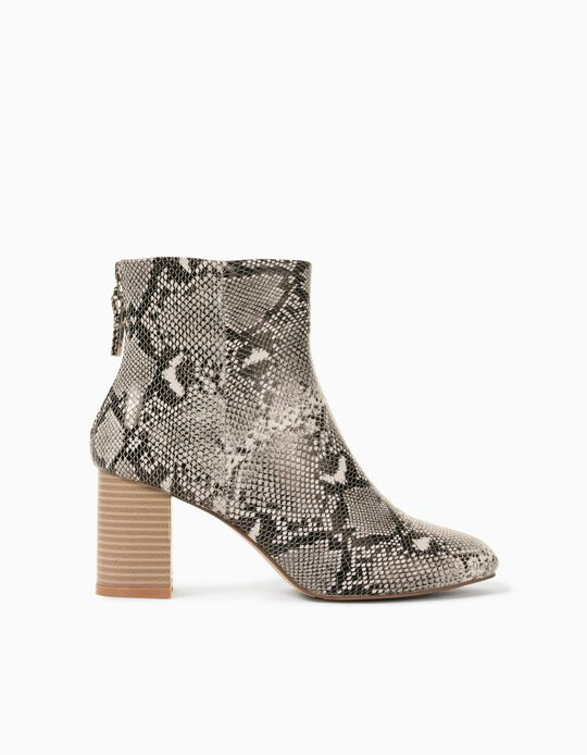 Snake-Effect Ankle Boots in Faux Leather