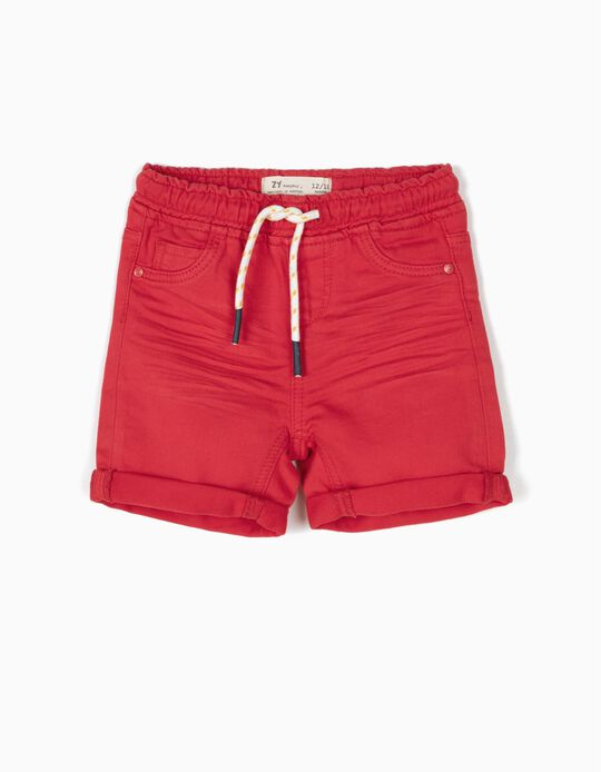Red denim shorts
