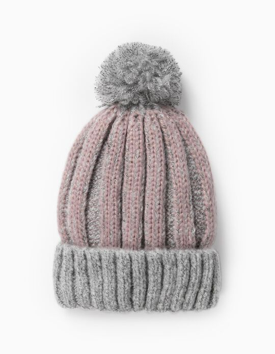 Knit Beanie with Pompom for Girls, Grey/Pink
