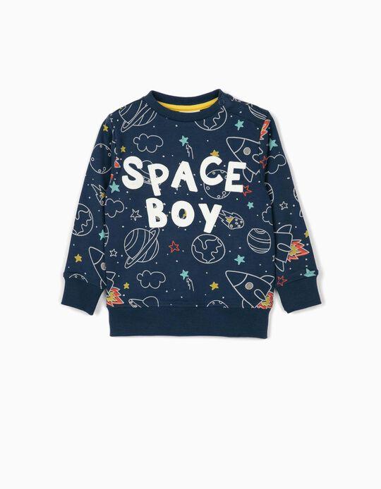 Sweatshirt para Bebé Menino 'Space Boy', Azul