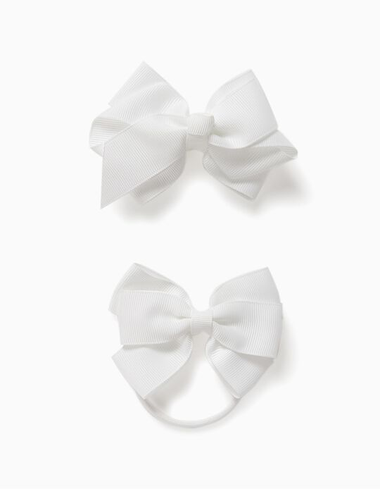 Pack with Hair Slide + Bobble for Girls, 'Bows', White
