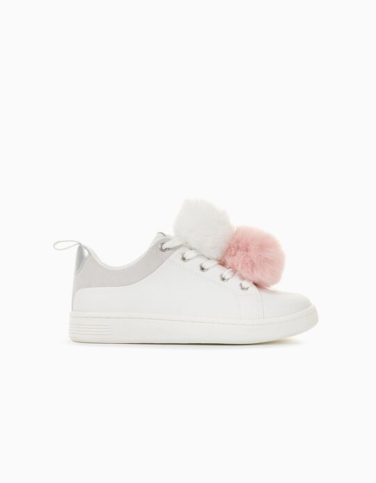 Trainers with Pompoms for Girls '96 Sneaker', White