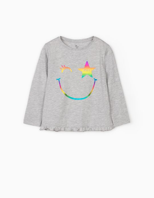 Long Sleeve Top for Girls 'Smile', Grey