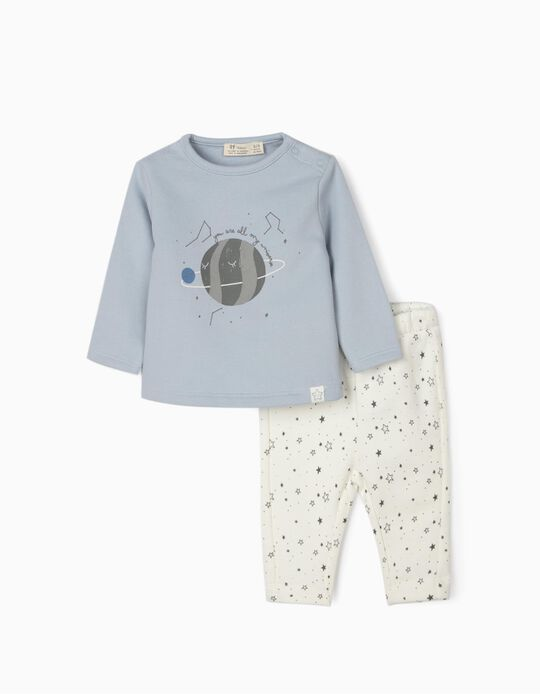 Tracksuit for Newborn Baby Boys 'My Universe', Blue/White