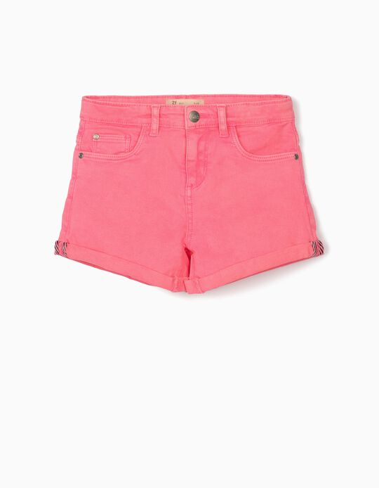 Twill Shorts for Girls 'Cosmic World', Bright Pink