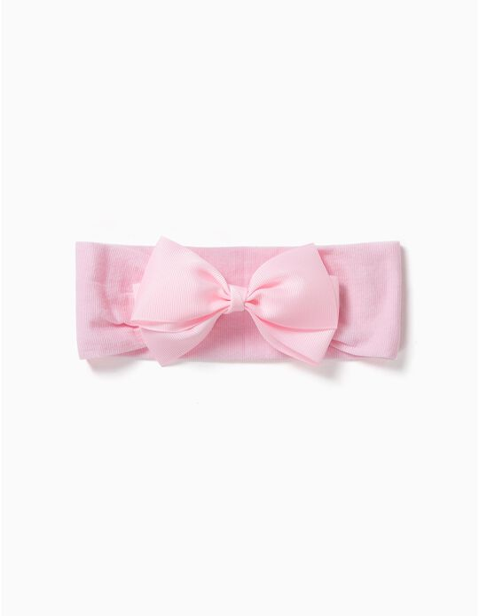 Hairband with Satin Bow for Girls, Light Pink