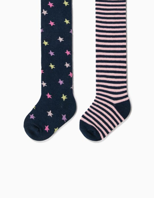 2 Collants de Malha para Bebé Menina 'Stars & Stripes', Azul Escuro
