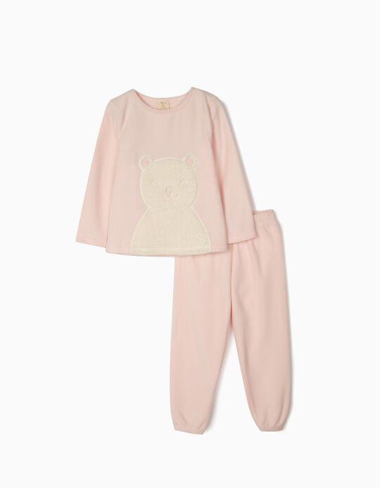 Polar Fleece for Girls 'White Bear', Pink