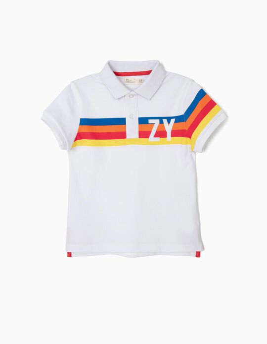 Striped 'ZY' Polo Shirt for Boys, White
