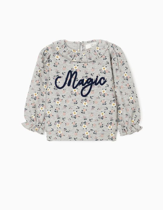 Sweatshirt for Baby Girls, 'Magic', Grey