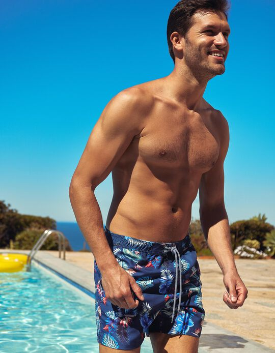 Swim Shorts, Tropical Pattern, for Men