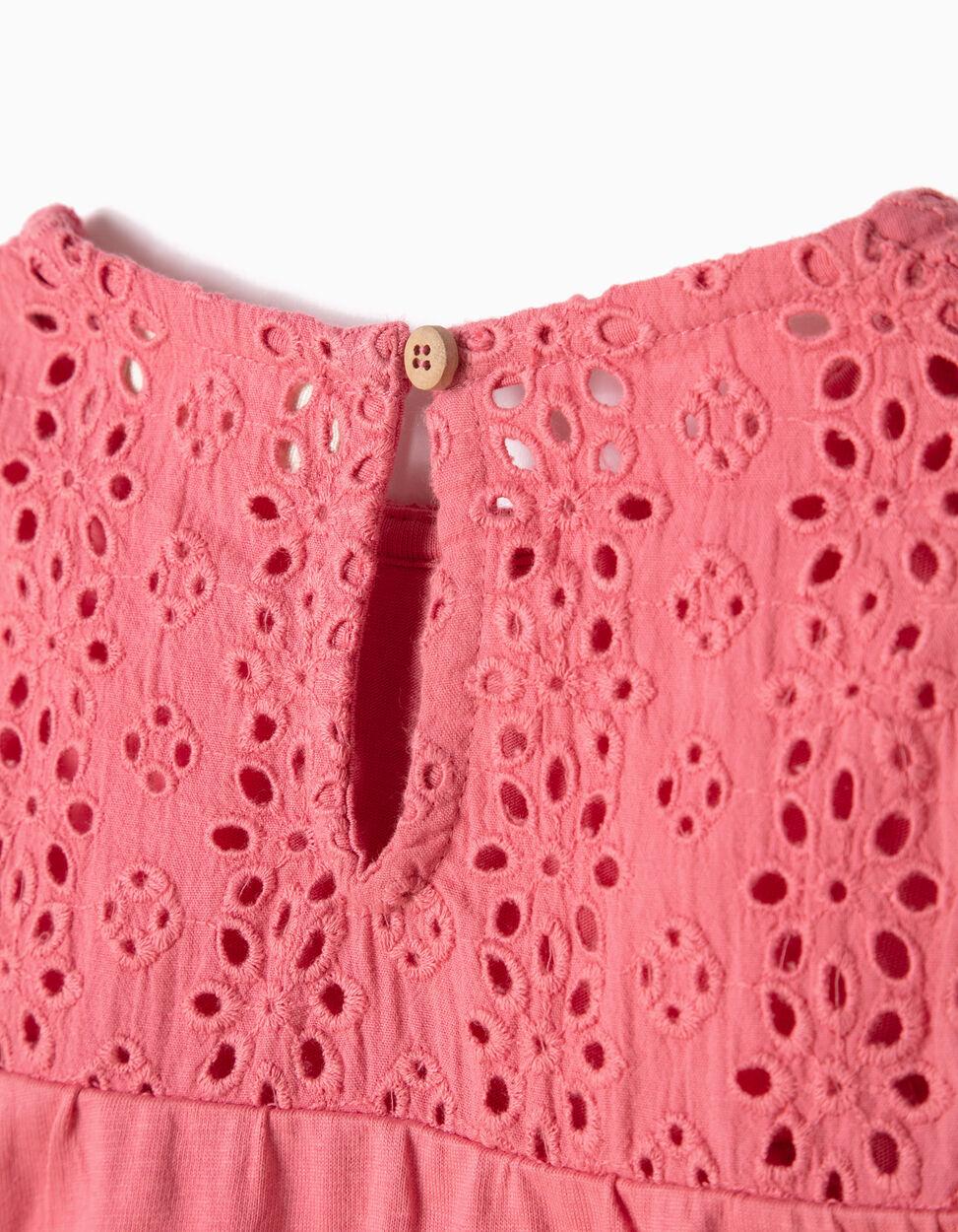 T-shirt com Bordados Rosa