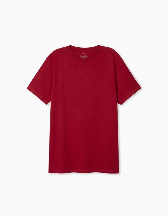 T-shirt Básica, Homem, Vermelho