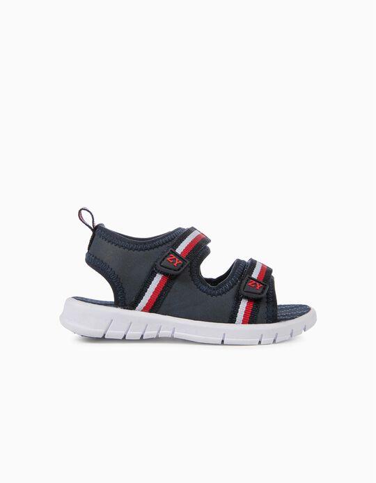 Sandálias para Bebé Menino 'Riscas', Azul Escuro