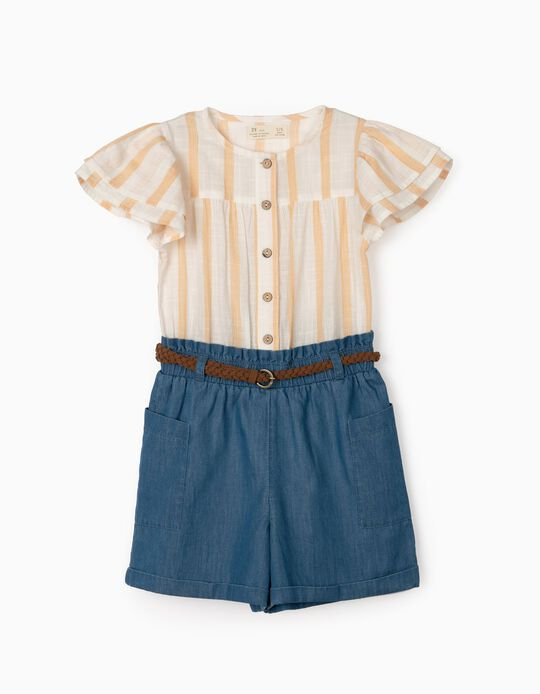 Dual Fabric Jumpsuit for Girls, Stripes/Denim