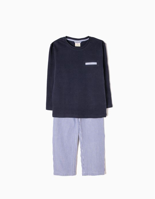 Blue Long-Sleeved & Trouser Pyjamas with Stripes