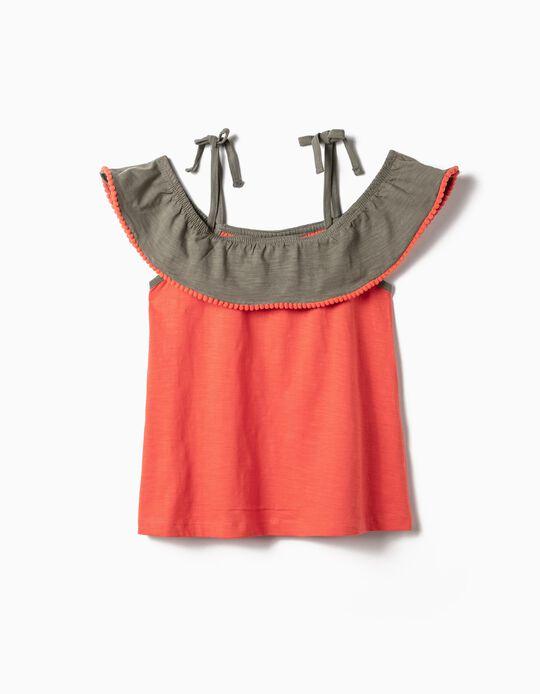 Blusa para Menina com Folhos e Pompons, Coral e Verde