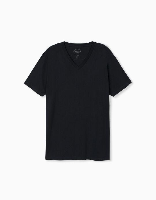 T-shirt Decote em Bico, Homem, Azul Escuro