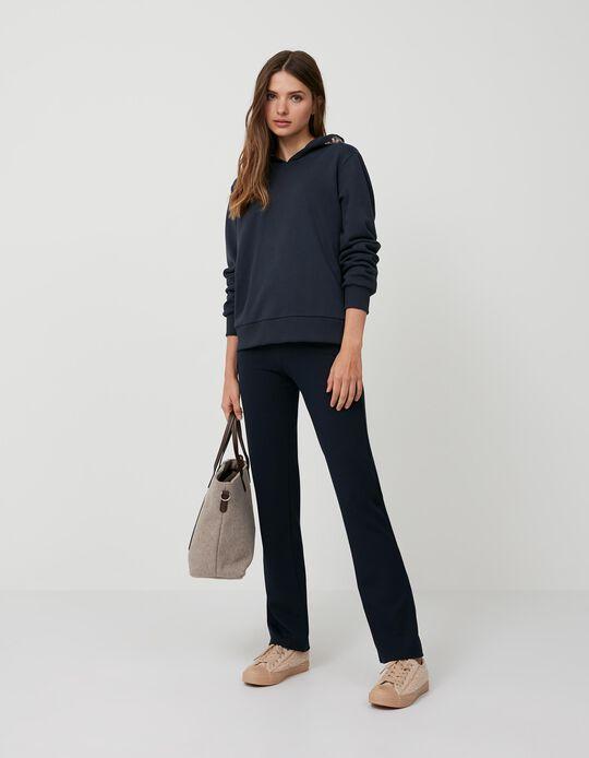Calças Cintura Elástica, Mulher, Azul Escuro