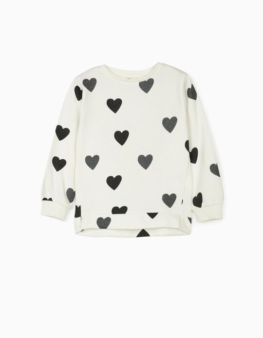 Sweatshirt for Girls 'Hearts', White