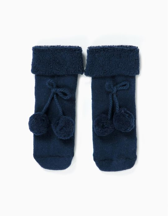 Terry Fleece Socks with Pompoms for Baby Girls, Dark Blue