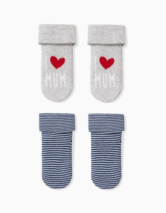 2 Pairs of Socks for Baby Boys 'Mum',  Grey and Blue