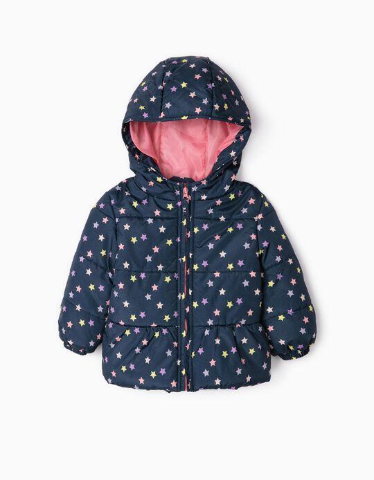 Blusão Acolchoado para Bebé Menina 'Stars', Azul Escuro