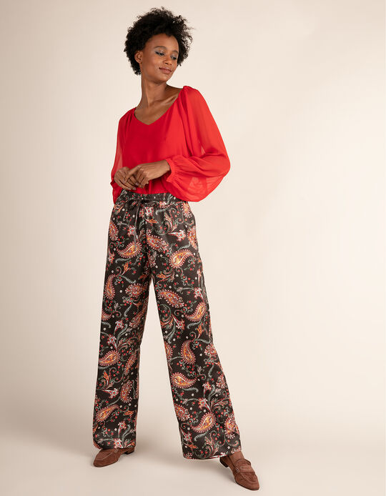 Flowing trousers with print