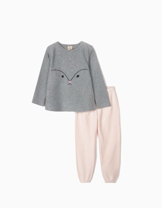 Polar Fleece Pyjamas for Girls, Grey/Pink
