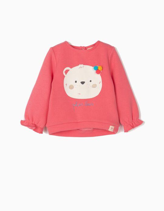 Sweatshirt com Pompons para Bebé Menina 'Cute Bear', Rosa