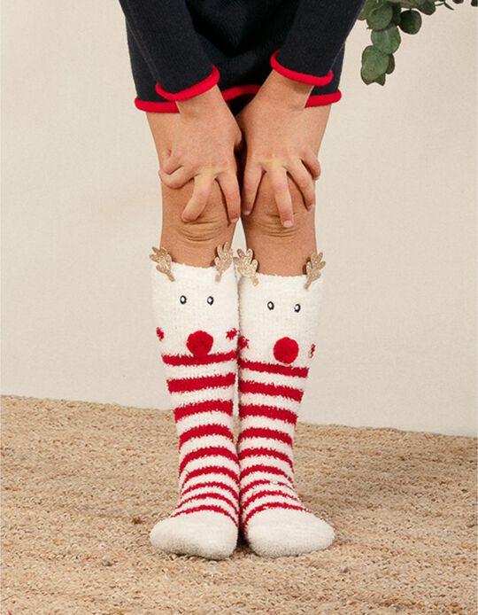 Fluffy Socks for Kids 'Christmas Reindeer', White/Red